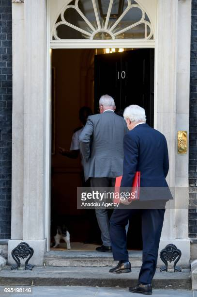 Secretary of State for Exiting the European Union David Davis enters the No10 at Downing Street in London United Kingdom on June 13 2017 The Prime...