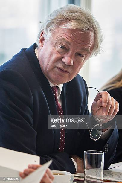 Secretary of State for Exiting the European Union David Davis is pictured as he attends a meeting with Chancellor of the Exchequer Philip Hammond and...