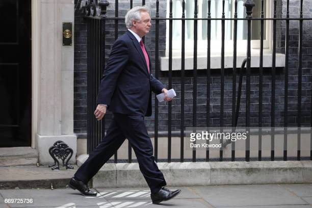 Secretary of State for Exiting the European Union David Davis leaves 10 Downing Street after Prime Minister Theresa May announced a General Election...