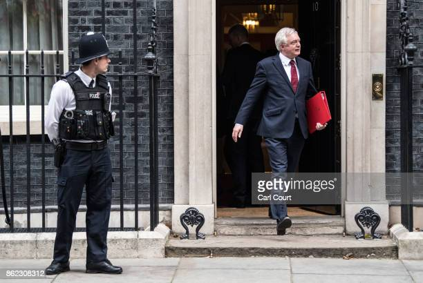 Secretary of State for Exiting the European Union David Davis leaves after attending a cabinet meeting in Downing Street on October 17 2017 in London...