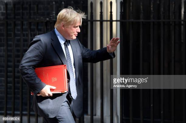 Secretary of State for Foreign and Commonwealth Affairs Boris Johnson arrives at Downing Street in London United Kingdom on June 13 2017 The Prime...