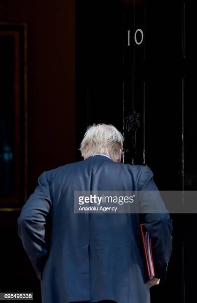 Secretary of State for Foreign and Commonwealth Affairs Boris Johnson enters the No 10 at Downing Street in London United Kingdom on June 13 2017 The...