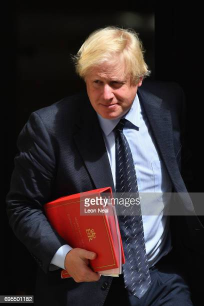 Secretary of State for Foreign and Commonwealth Affairs Boris Johnson leaves Downing Street on June 13 2017 in London England The Prime Minister has...