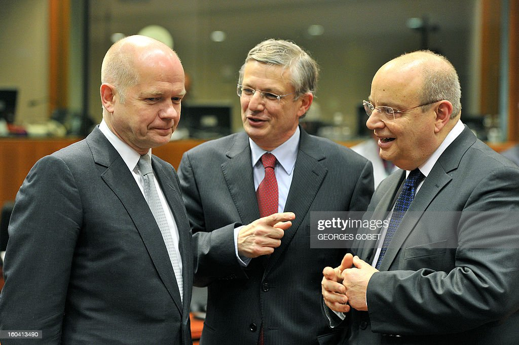 UK Secretary of State for Foreign and Commonwealth Affairs William Hague, EU commissioner for Health and Consumer Policy Tonio Borg and Maltese Foreign Affairs minister Francis Zammit Dimech (LtR) talk to prior a Foreign Affairs Council on January 31, 2013 at the EU Headquarters in Brussels. The Council will discuss the situation in the EU's southern neighbourhood, in particular in Syria and Egypt, and will prepare the forthcoming European Council debate on the Arab Spring. Ministers will also discuss the priorities of the foreign policy of the new US administration.They will be informed of the situation in Mali and the action taken by the EU in response to the special session of the last Foreign Affairs Council devoted to Mali.