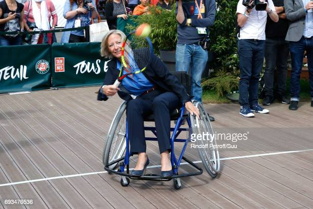 Secretary of State for Handicapped Persons Sophie Cluzel attends the Tennis Match during the 'All in Wheelchair Day' as part ofthe 2017 French Tennis...
