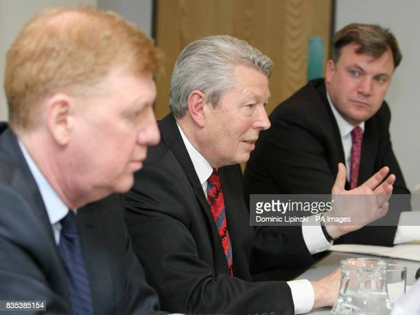 Secretary of State for Health Alan Johnson Chief Medical Officer Liam Donaldson and Secretary of State for Children Schools and Families Ed Balls at...