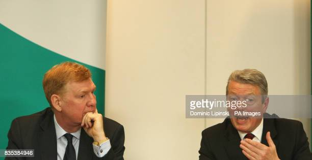 Secretary of State for Health Alan Johnson is watched by Chief Medical Officer Liam Donaldson as he speaks at a press conference at the Department of...