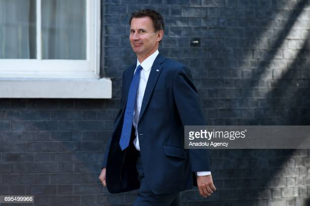 Secretary of State for Health Jeremy Hunt arrives at Downing Street in London United Kingdom on June 13 2017 The Prime Minister has reshuffled her...