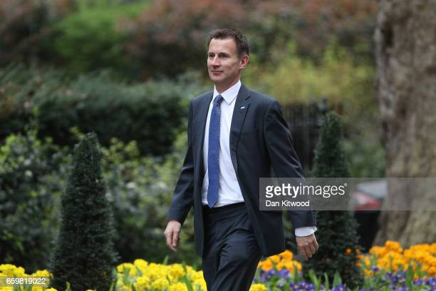 Secretary of State for Health Jeremy Hunt arrives for a cabinet meeting at 10 Downing Street on March 29 2017 in London England Later today British...