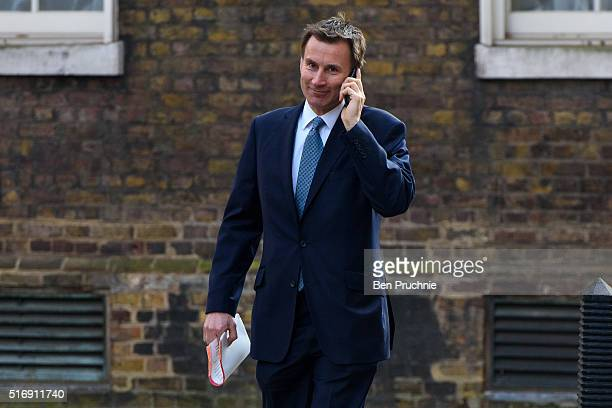 Secretary of State for Health Jeremy Hunt arrives for the weekly cabinet meeting chaired by British Prime Minister David Cameron at Number 10 Downing...