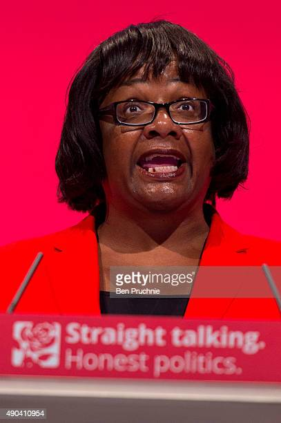 Secretary of State for International Development Diane Abbott speaks to delegates during a session entitled 'Britain and the World' during the second...