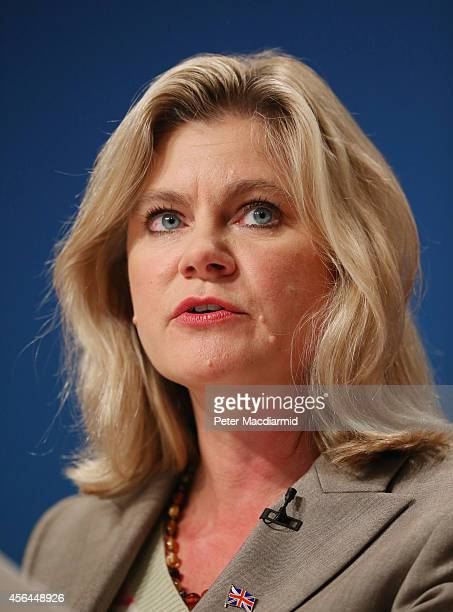 Secretary of State for International Development Justine Greening speaks at the Conservative party conference on October 1 2014 in Birmingham England...