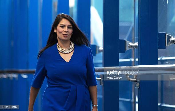 Secretary of State for International Development Priti Patel arrives on the third day of the Conservative Party Conference 2016 at the ICC Birmingham...
