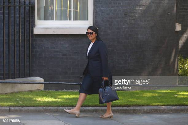 Secretary of State for International Development Priti Patel arrives at Downing Street on June 13 2017 in London England The Prime Minister has...
