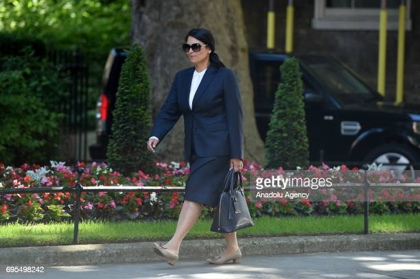 Secretary of State for International Development Priti Patel arrives at Downing Street in London United Kingdom on June 13 2017 The Prime Minister...
