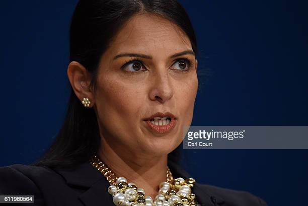 Secretary of State for International Development Priti Patel delivers a speech about Brexit on the first day of the Conservative Party Conference...