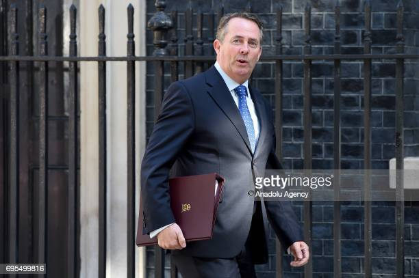 Secretary of State for International Trade and President of the Board of Trade Liam Fox arrives at Downing Street in London United Kingdom on June 13...