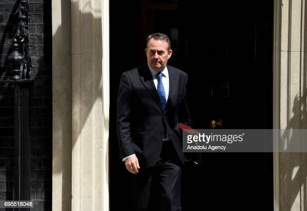 Secretary of State for International Trade and President of the Board of Trade Liam Fox departs Downing Street on June 13 2017 in London United...