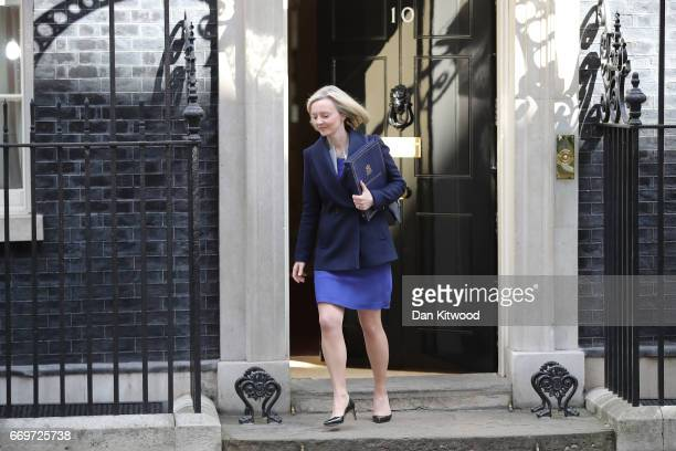 Secretary of State for Justice Elizabeth Truss leaves 10 Downing Street after Prime Minister Theresa May announced a General Election on April 18...