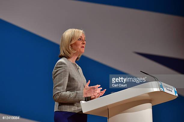 Secretary of State for Justice Liz Truss delivers a speech on the third day of the Conservative Party Conference 2016 at the International Conference...