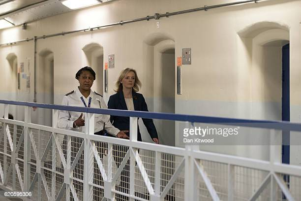Secretary Of State For Justice Liz Truss speaks with Custodial Manager WendyFisher Mcfarlane as she is escorted around HMP Brixton on November 1 2016...