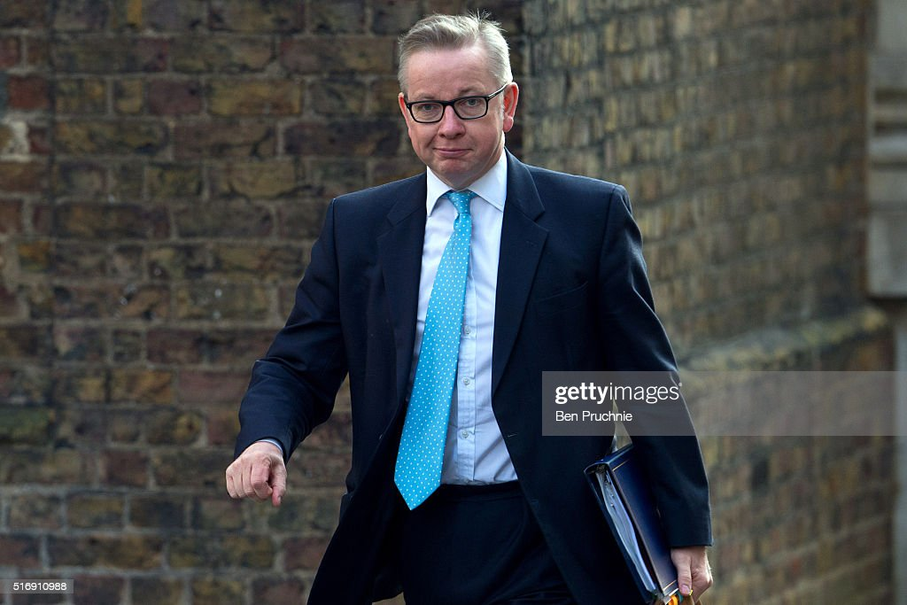Secretary of State for Justice <a gi-track='captionPersonalityLinkClicked' href=/galleries/search?phrase=Michael+Gove&family=editorial&specificpeople=2223709 ng-click='$event.stopPropagation()'>Michael Gove</a> arrives for the weekly cabinet meeting chaired by British Prime Minister David Cameron at Number 10 Downing Street on March 22, 2016 in London, England. Today is the first cabinet meeting since Iain Duncan Smith was replaced by Stephen Crabb as Secretary of State for Work and Pensions.