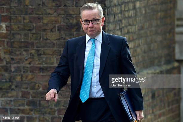 Secretary of State for Justice Michael Gove arrives for the weekly cabinet meeting chaired by British Prime Minister David Cameron at Number 10...