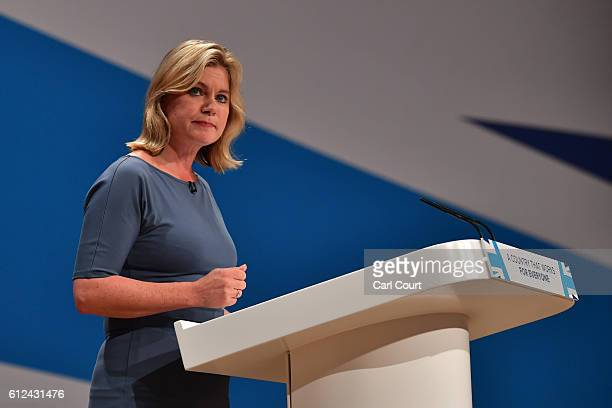Secretary of State for Justine Greening delivers a speech on the third day of the Conservative Party Conference 2016 at the International Conference...
