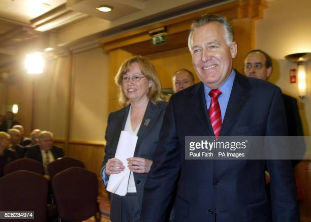 Secretary of State for Northern Ireland Peter Hainwith Angela Smith Minister foe Educationarrive at the Hilton Hotel Belfast Tuesday 22nd November...