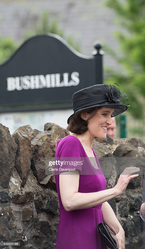 Secretary of state for Northern ireland Theresa Villiers attends the Queen Elizabeth II & Prince Philip, Duke Of Edinburgh arrival at he unveiling of the Robert Quigg VC memorial statue in Bushmills village on June 28, 2016 in Bushmills, Northern Ireland.