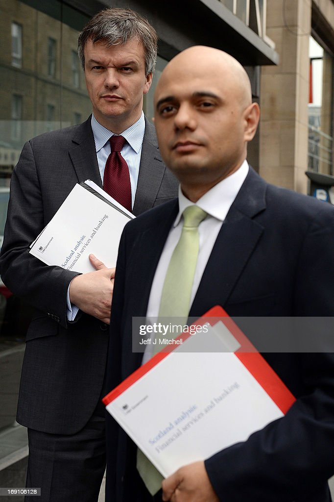 Secretary of State for Scotland Michael Moore (L) and Economic Secretary to the Treasury <a gi-track='captionPersonalityLinkClicked' href=/galleries/search?phrase=Sajid+Javid&family=editorial&specificpeople=10536168 ng-click='$event.stopPropagation()'>Sajid Javid</a> MP attend the Launch of the Scotland Analysis Financial Services and Banking Paper on May 20, 2013 in Edinburgh, Scotland. The paper claimed that savers and pensioners would be at risk in an independent Scotland.