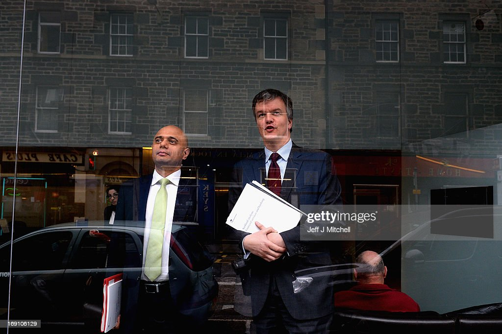 Secretary of State for Scotland Michael Moore (R) and Economic Secretary to the Treasury Sajid Javid MP attend the Launch of the Scotland Analysis Financial Services and Banking Paper on May 20, 2013 in Edinburgh, Scotland. The paper claimed that savers and pensioners would be at risk in an independent Scotland.