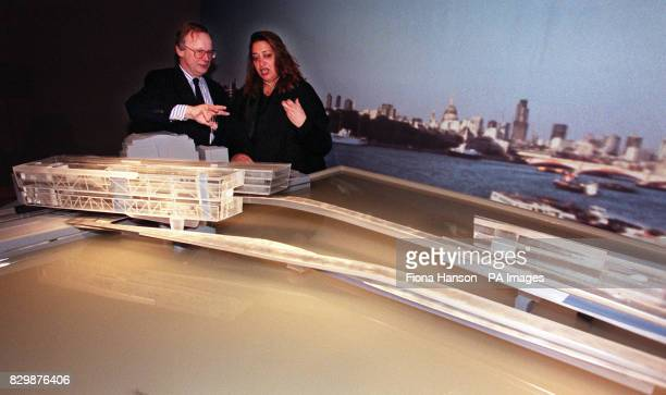 Secretary of State for the Environment John Gummer with Zaha M Hadid who was today named as joint winner of the Thames Water Habitable Bridge...