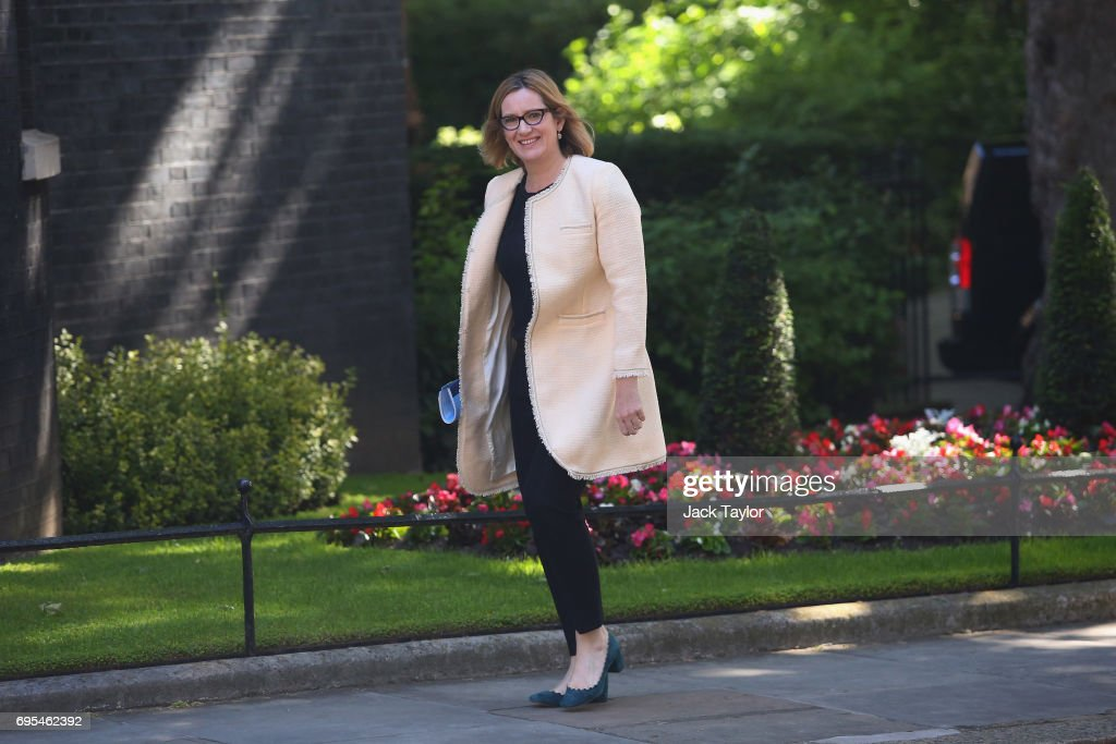 Secretary of State for the Home Department Amber Rudd arrives at Downing Street on June 13, 2017 in London, England. The Prime Minister has re-shuffled her cabinet after the snap general election which failed to return a clear overall majority winner. Theresa May is set to meet Northern Ireland's Democratic Unionist Party leader Arlene Foster later today in hope of making an agreement to form a minority Government.