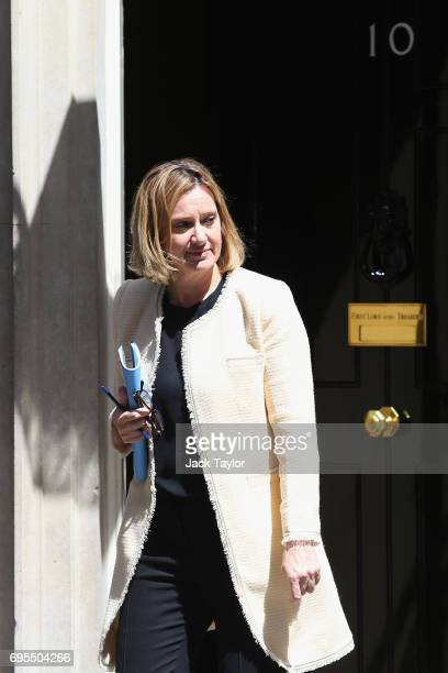 Secretary of State for the Home Department Amber Rudd leaves Downing Street on June 13 2017 in London England The Prime Minister has reshuffled her...
