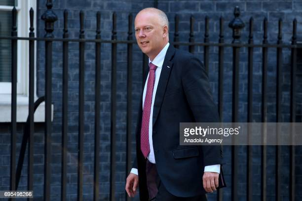 Secretary of State for Transport Chris Grayling arrives at Downing Street in London United Kingdom on June 13 2017 The Prime Minister has reshuffled...