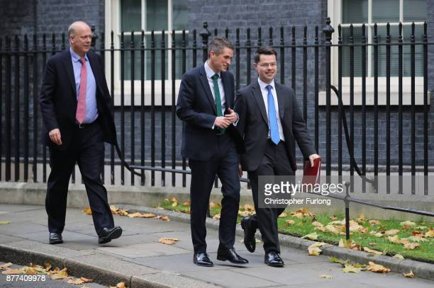 Secretary of State for Transport Chris Grayling Defence Secretary Gavin Williamson and Northern Ireland Secretary James Brokenshire leave after a...