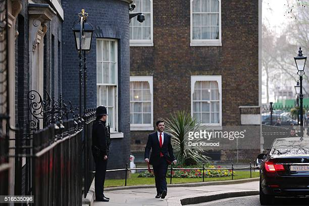 Secretary of State for Wales Stephen Crabb arrives at Downing Street for a Cabinet Meeting on March 16 2016 in London England The Chancellor of the...