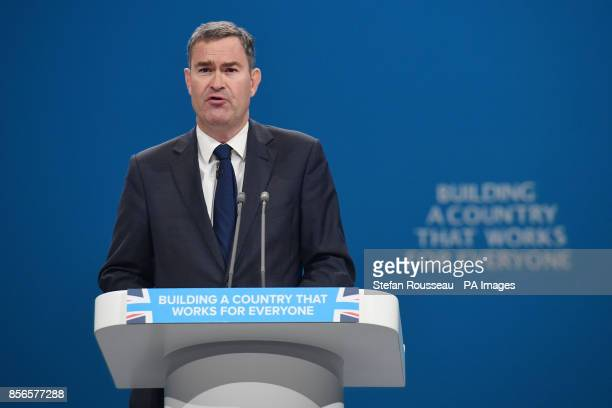 Secretary of State for Work and Pensions David Gauke addresses the Conservative Party Conference at the Manchester Central Convention Complex in...