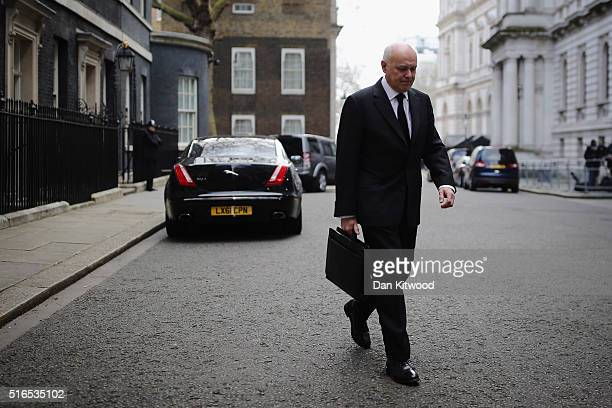 Secretary of State for Work and Pensions Iain Duncan Smith leaves Downing Street after a Cabinet Meeting on March 16 2016 in London England The...
