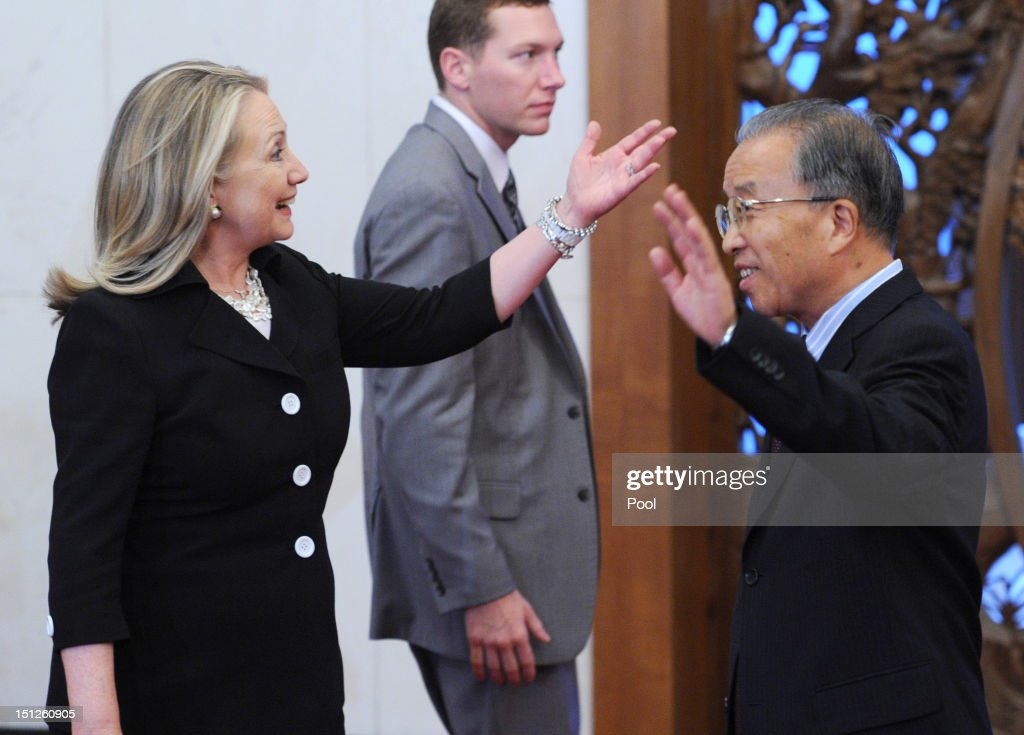 U.S. Secretary of State <a gi-track='captionPersonalityLinkClicked' href=/galleries/search?phrase=Hillary+Clinton&family=editorial&specificpeople=76480 ng-click='$event.stopPropagation()'>Hillary Clinton</a> and Chinese State Councillor Dai Bingguo (R) during their meeting at the Diaoyutai State Guest house on September 5, 2012 in Beijing, China. Secretary Clinton will urge the Chinese to use a collective diplomatic approach in solving terriorial disputes with its neighbours.