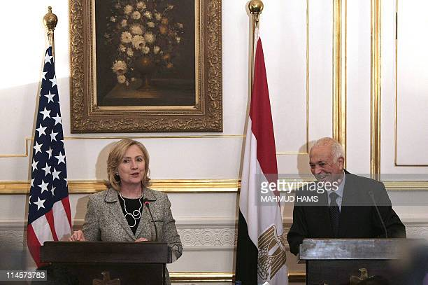 US Secretary of State Hillary Clinton and Egyptian Foreign Affairs Minister Nabil alArabi give a press briefing at the Egyptian foreign affair office...