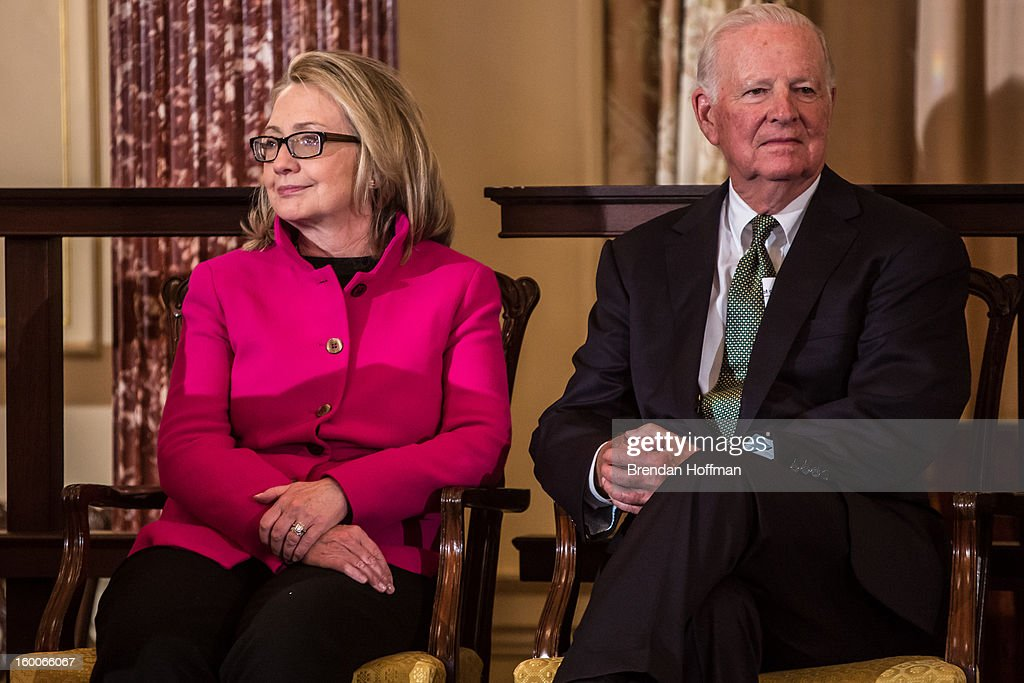 Secretary of State <a gi-track='captionPersonalityLinkClicked' href=/galleries/search?phrase=Hillary+Clinton&family=editorial&specificpeople=76480 ng-click='$event.stopPropagation()'>Hillary Clinton</a> (L) and former Secretary of State James Baker attend an event launching the Diplomacy Center on January 25, 2013 in Washington, DC. The center will serve as a museum of diplomacy, housed at the Department of State.