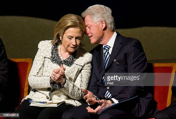US Secretary of State Hillary Clinton and Former US President Bill Clinton attend a memorial service for Ambassador Richard Holbrooke on January 14...