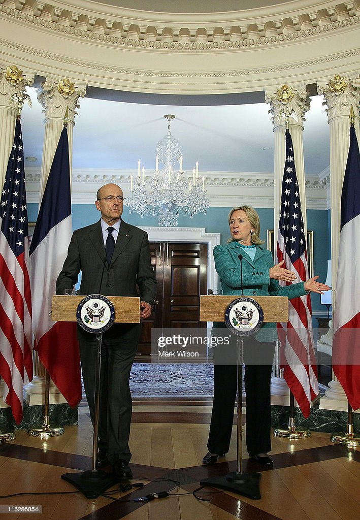 U.S. Secretary of State <a gi-track='captionPersonalityLinkClicked' href=/galleries/search?phrase=Hillary+Clinton&family=editorial&specificpeople=76480 ng-click='$event.stopPropagation()'>Hillary Clinton</a> (R), and French Foreign Minister <a gi-track='captionPersonalityLinkClicked' href=/galleries/search?phrase=Alain+Juppe&family=editorial&specificpeople=235359 ng-click='$event.stopPropagation()'>Alain Juppe</a> (L), participate in a press availability with reporters after attending a bi-lateral meeting at the Department of State on June 6, 2011 in Washington, DC. The French had proposed to convene Israeli and Palestinian negotiators but Clinton squashed the idea saying it would not be 'productive' to have a meeting now.