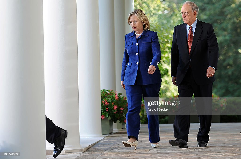 Secretary of State Hillary Clinton (L) and George Mitchell, Special Envoy to the Middle East, follow U.S. President Barack Obama as he arrives to deliver remarks to the press on the Mideast peace talks in the Rose Garden at the White House September 1, 2010 in Washington, DC. The White House has kicked off the first new round of direct peace talks in more than 18 months with leaders of Middle East countries, including Palestinian Authority President Mahmoud Abbas, Israeli Prime Minister Benjamin Netanyahu, Egyptian President Hosni Mubarak and Jordanian King Abdullah II.