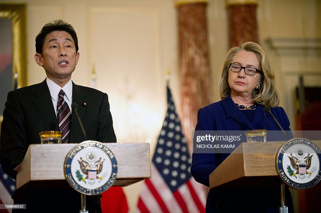 US Secretary of State Hillary Clinton and Japanese Foreign Minister Fumio Kishida speak to the press following talks at the State Department in Washington,DC on January 18, 2013. AFP PHOTO/Nicholas KAMM