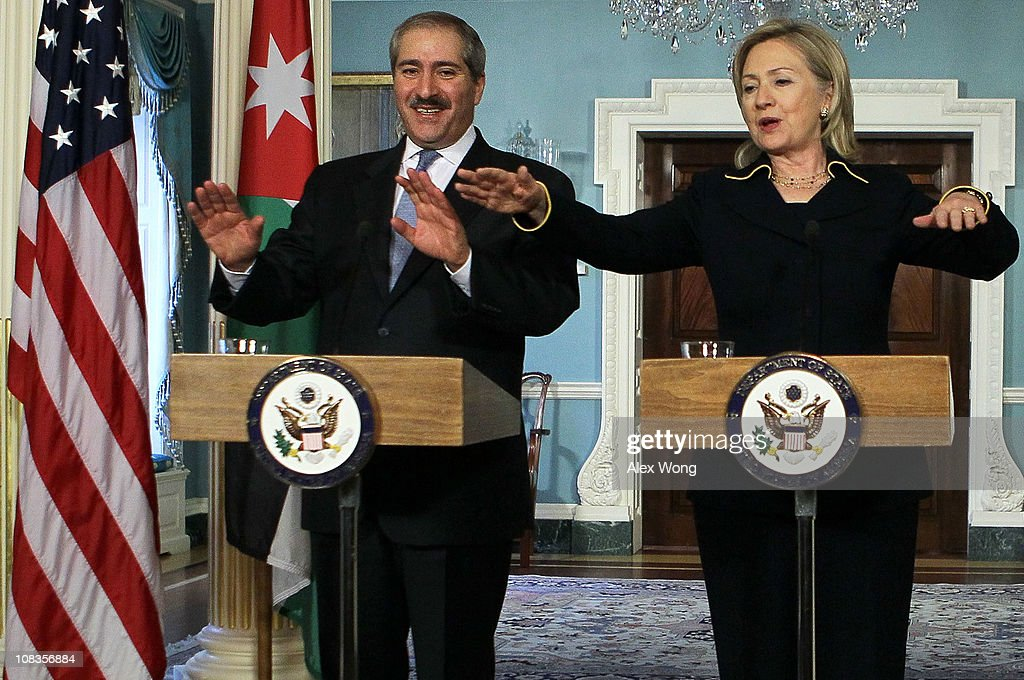 U.S. Secretary of State Hillary Clinton (R) and Jordanian Foreign Minister Nasser Judeh (L) speak during a joint press availability January 26, 2011 at the State Department in Washington, DC. Both Clinton and Judeh had a meeting prior to the joint press availability.