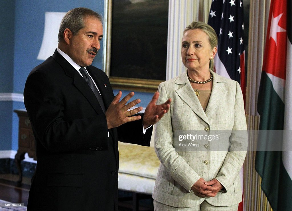 S Secretary of State Hillary Clinton and Jordanian Foreign Minister Nasser Judeh speak to the media prior to their meeting at the State Department...