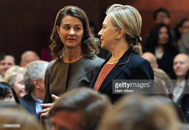 Secretary of State Hillary Clinton and Melinda Gates walk into an event to launch a new maternal and child health initiative at the Ronald Reagan...